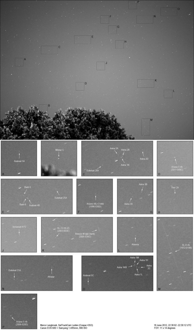 Dozens of satellites and space debris are detected on one picture, Marco Langbroek, SatTrackCam Leiden (cospar 4363)